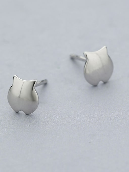 One Silver Cute Fish Shaped Stud Earrings 2