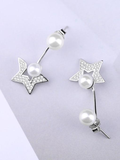 Peng Yuan Freshwater Pearl Star Zircon Stud Earrings 3