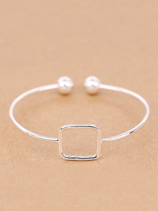 Peng Yuan Simple Hollow Square Opening Bangle 0