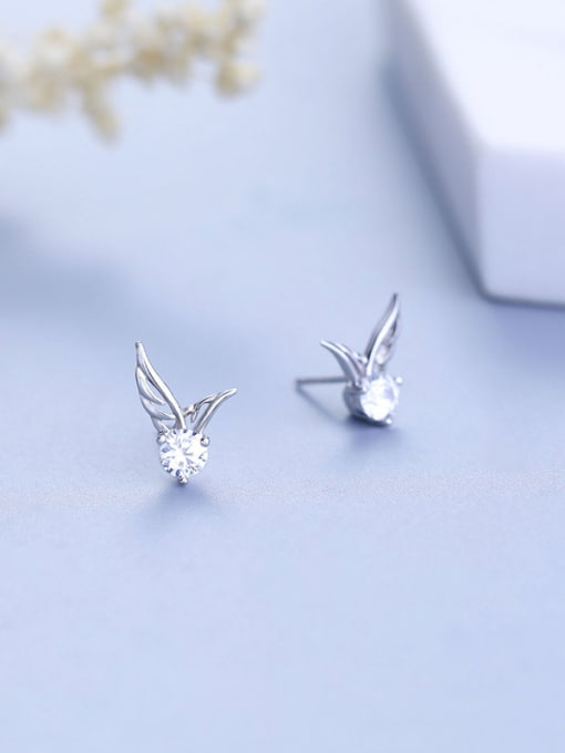 One Silver Women wing Shaped Zircon cuff earring 0