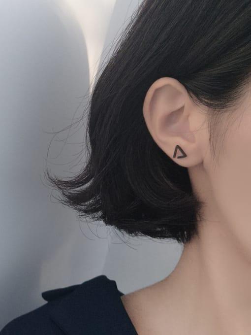 Peng Yuan Simple Triangle-shaped Silver Stud Earrings 2