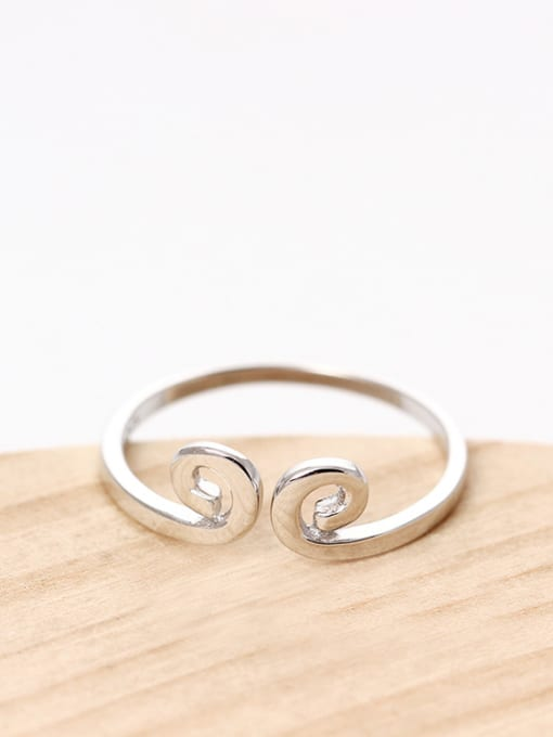 SILVER MI S925 Silver Simple Style Opening Ring 0