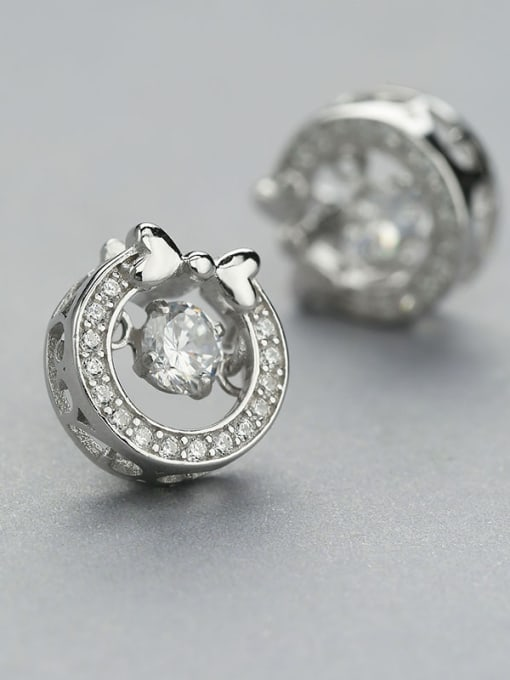 One Silver Women Bowknot Shaped Zircon stud Earring 2
