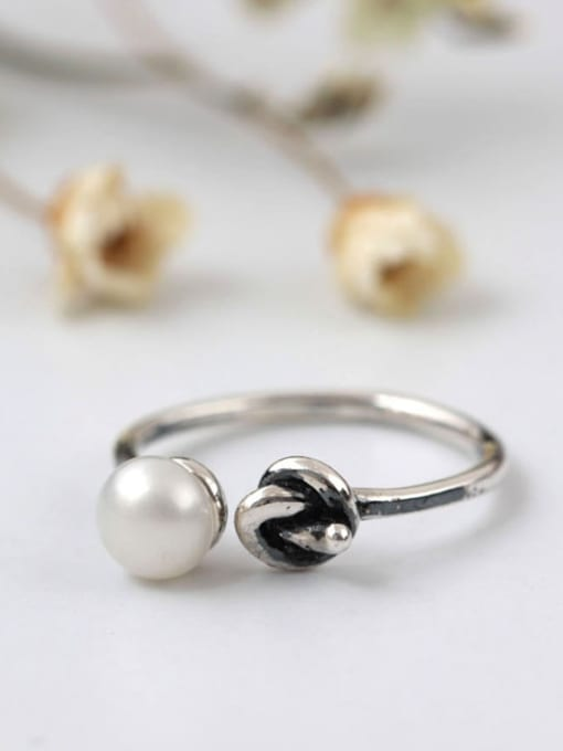 SILVER MI Knot Freshwater pearl Opening Ring 1
