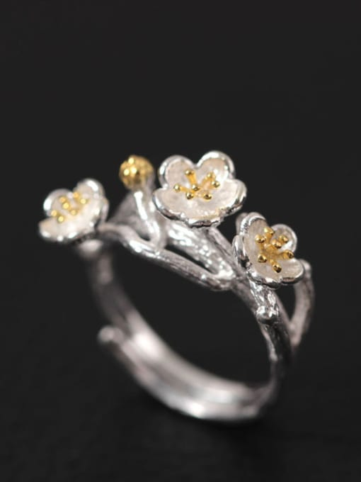 SILVER MI Flowers S925 Silver Adjustable Ring 0