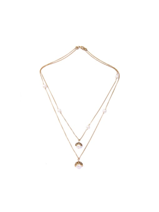 KM Double-layer Simple Style Women 's Necklace 0
