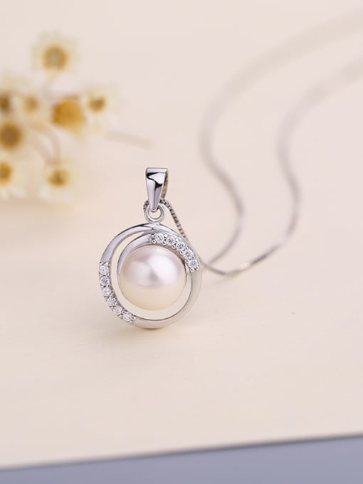 One Silver S925 Silver Freshwater Pearl Pendant 2