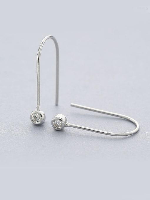 One Silver 925 Silver U-shaped Zircon Earrings 0