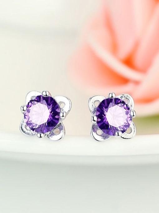 One Silver Temperament Purple Zircon Stud Earrings 0