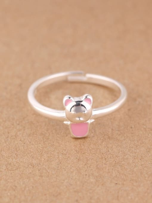 Peng Yuan Tiny Cartoon Bear Silver Midi Ring 0