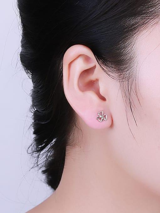 One Silver Women Fashion Bowknot Shaped stud Earring 1