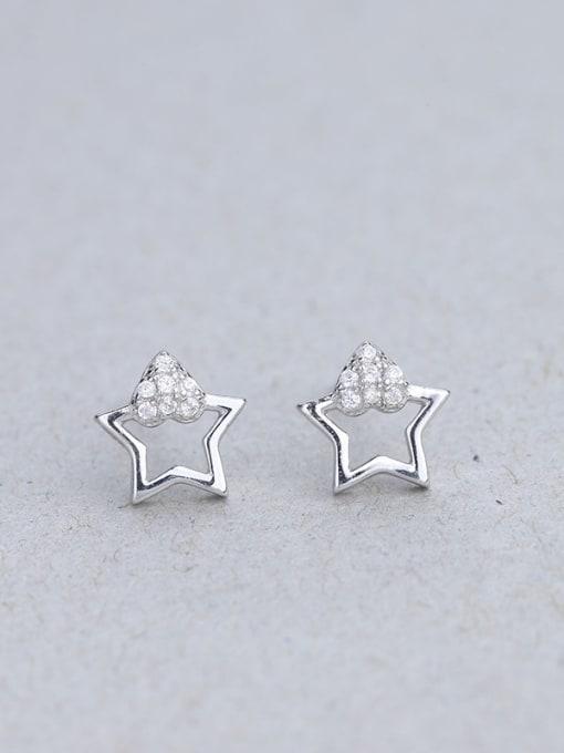 One Silver 925 Silver Charming Star Zircon stud Earring 2