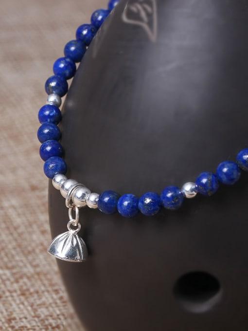 SILVER MI National Style Natural Lapis Lazuli Bracelet 2