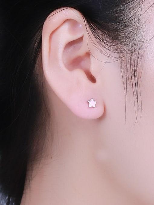 One Silver Women Fresh Star Shaped stud Earring 1