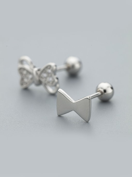 One Silver Personality Asymmetric Bowknot Shaped stud Earring 2