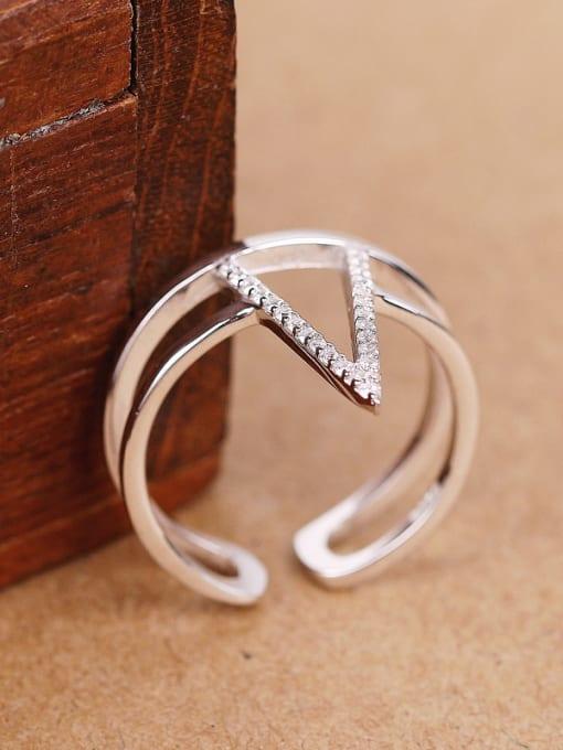 Peng Yuan Fashion Two-band Silver Opening Statement Ring 2