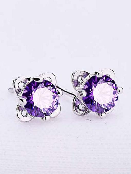 One Silver Temperament Purple Zircon Stud Earrings 1