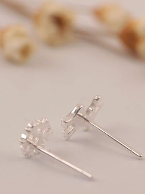 SILVER MI S925 Silver Deer Snowflake Stud Earrings 1
