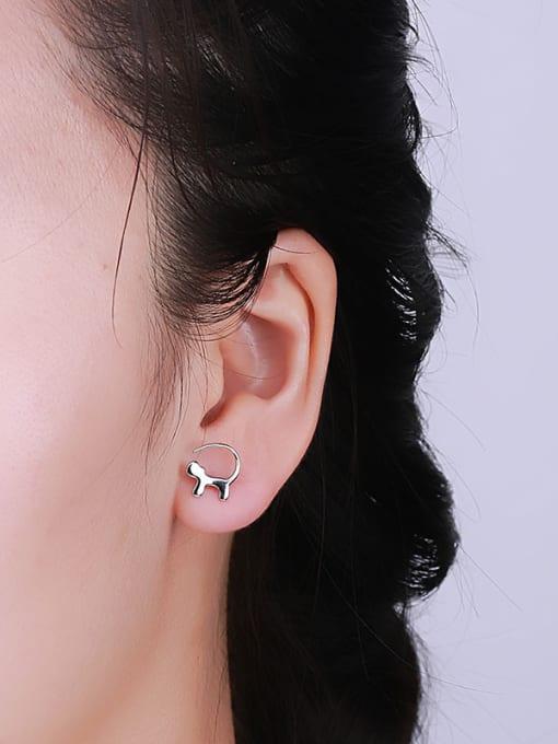One Silver Cute Trojan Shaped Stud Earrings 1