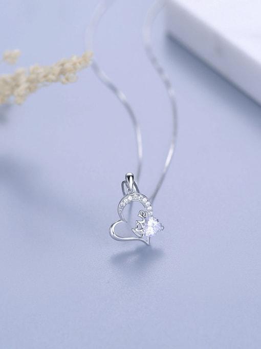 One Silver 925 Silver Heart Shaped Zircon Pendant 0