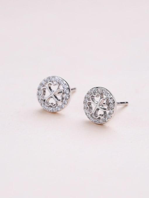 One Silver Trendy Clover Shaped Stud Earrings