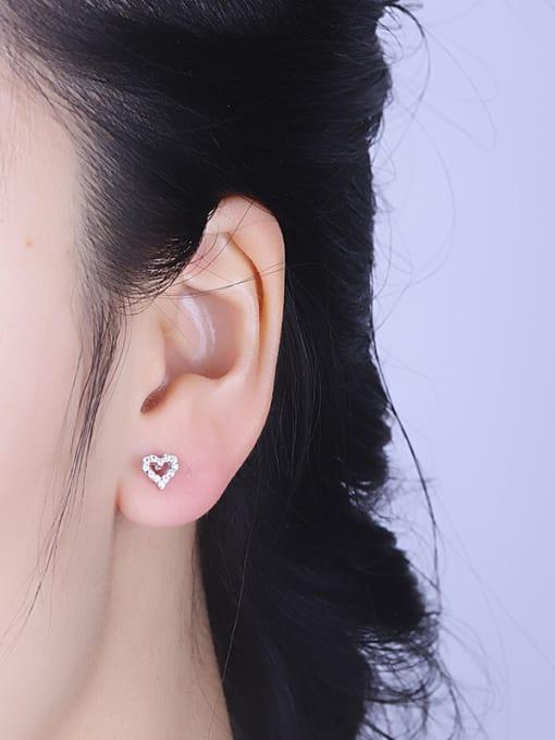One Silver 925 Silver Heart Shaped Zircon cuff earring 1