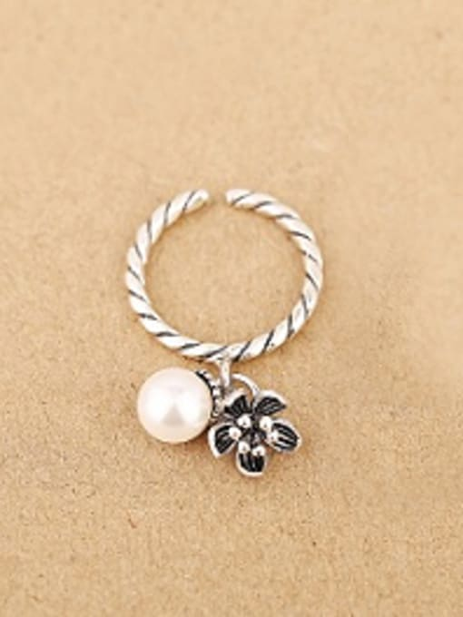 white Freshwater Pearl Garnet Flower Opening Ring