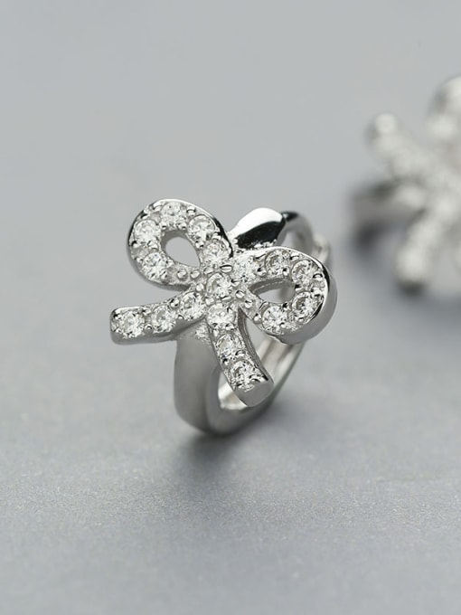 One Silver All-match Bowknot Shaped Stud Earrings 2