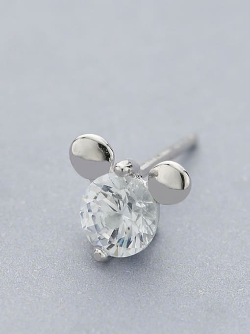One Silver Lovely Mickey Mouse Shaped stud Earring 1