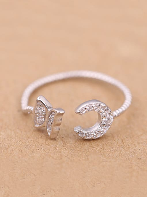 Peng Yuan Butterfly Moon Rhinestones Opening Ring