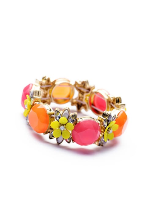 Pink Gold Plated Color Stones Bangle