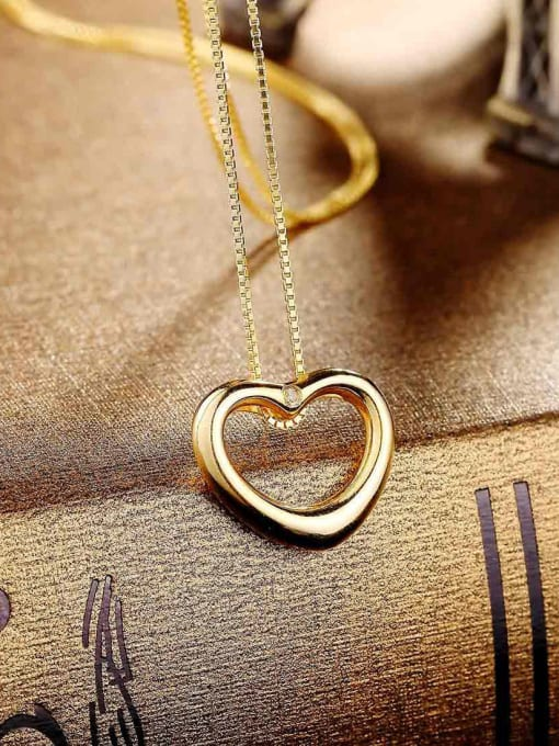 One Silver Gold Plated Heart Zircon Pendant 0