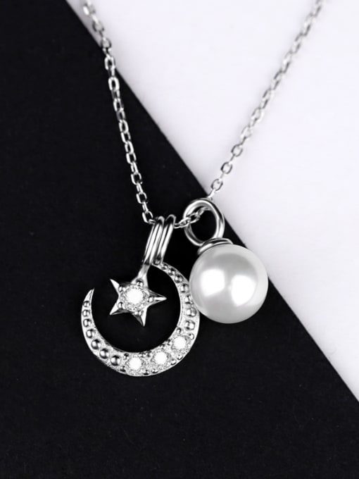 Peng Yuan Freshwater Pearl Moon Star Necklace