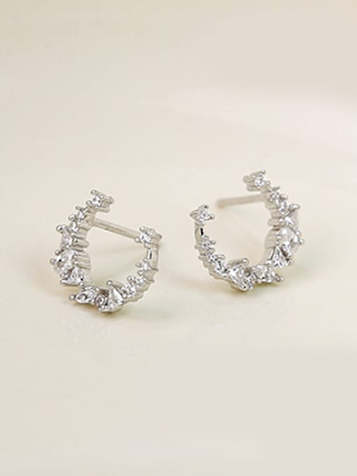 Peng Yuan Little Moon Zircon Stud Earrings 0