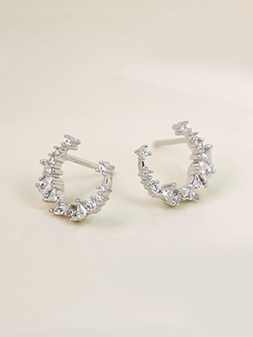 Peng Yuan Little Moon Zircon Stud Earrings