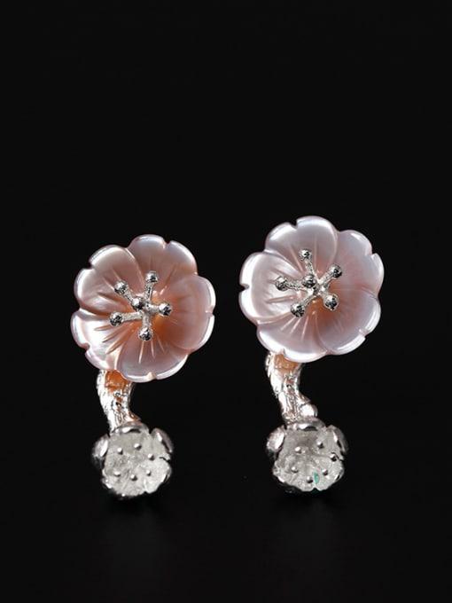 SILVER MI Pink Flower Shaped stud Earring
