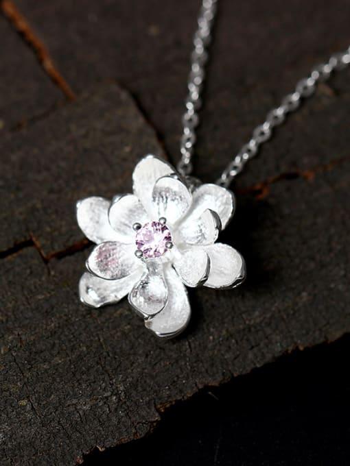 SILVER MI Small Flower Pendant Accessories Women Necklace 0
