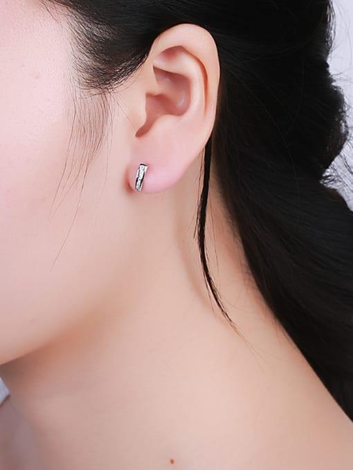 One Silver Women Elegant Geometric stud Earring 1