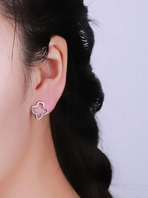 One Silver Women Temperament Flower Zircon Earrings 1