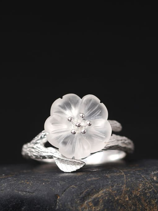 SILVER MI Flower -shape High Quality Women Ring
