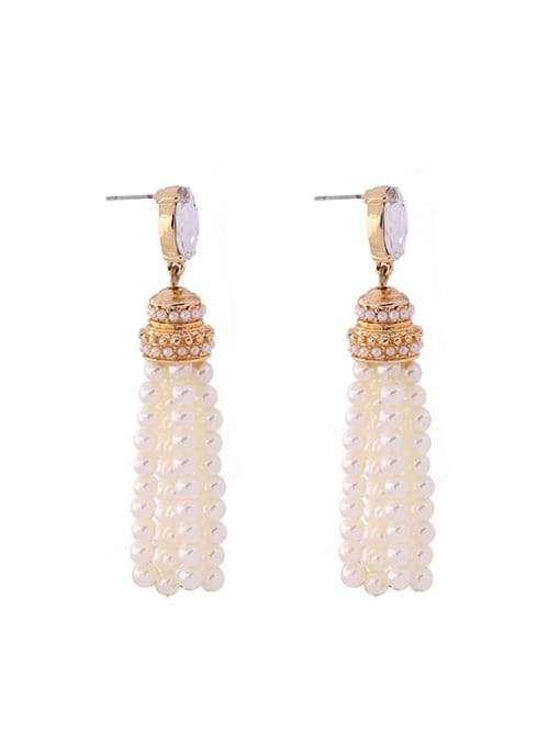 KM White Artificial Stones drop earring 3