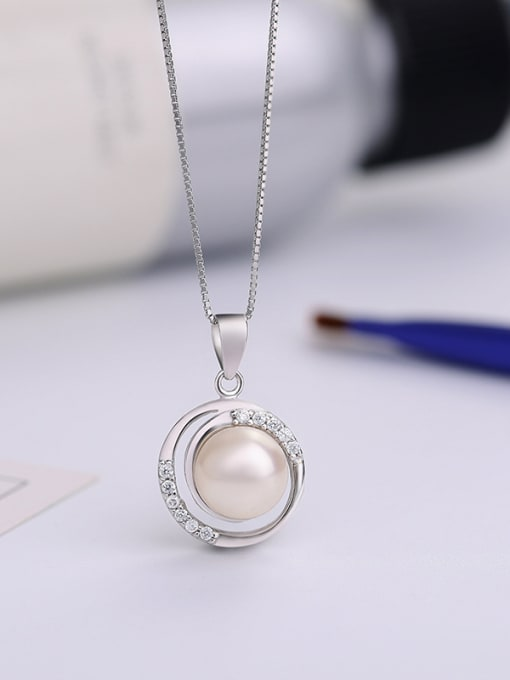 One Silver S925 Silver Freshwater Pearl Pendant 1