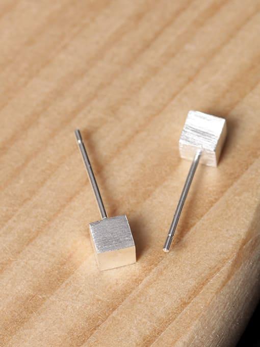 SILVER MI Geometric Square Simple Stud Earrings 2