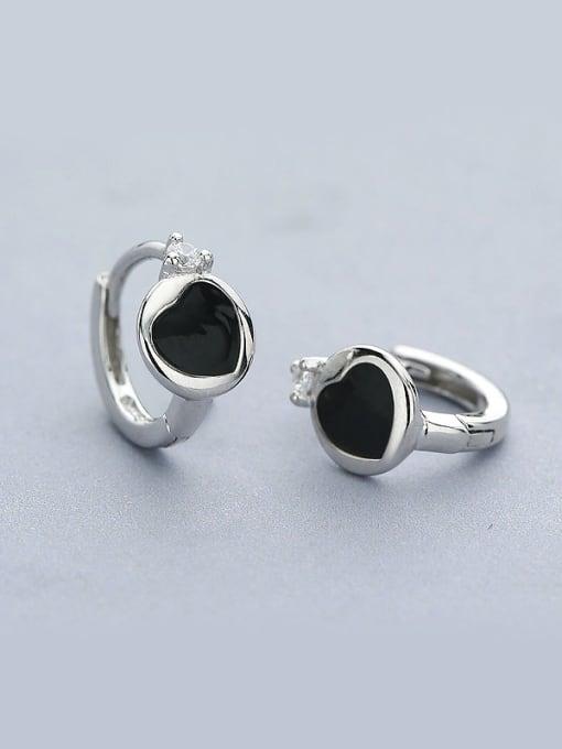 One Silver Trendy Heart Shaped Stud Earrings