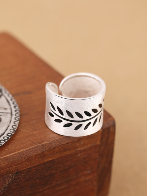 Peng Yuan Personalized Leaves Silver Opening Ring 4