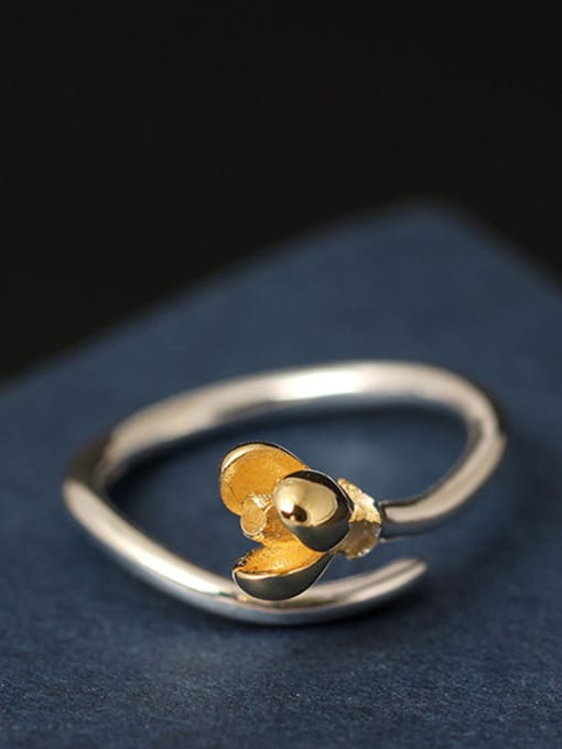 SILVER MI Small Flower S925 Silver Opening Ring