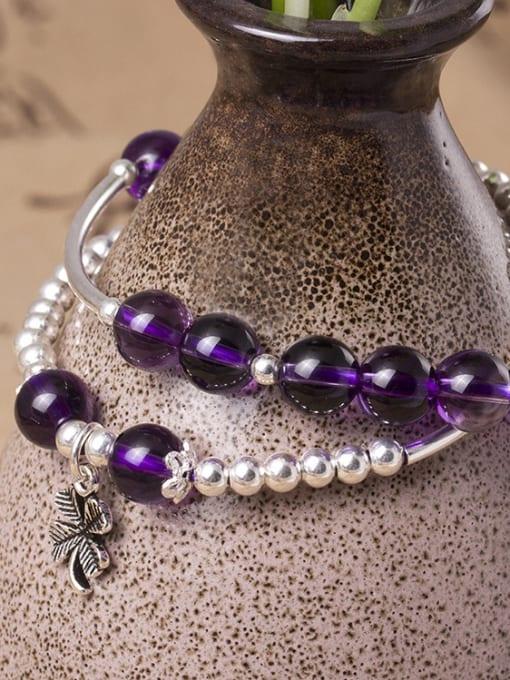 SILVER MI S925 Silver Temperament Amethyst Bracelet 2