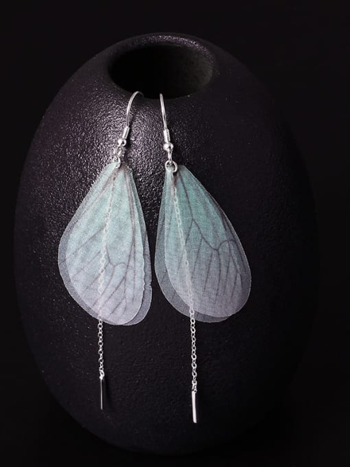 SILVER MI Insect Wing Personality Fringe drop earring 1