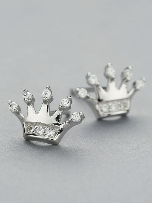 One Silver 925 Silver Crown Shaped Zircon Earrings 2