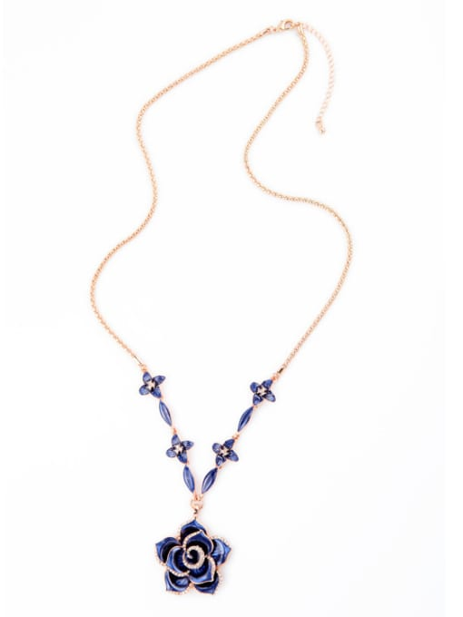 KM Rose Gold Plated Flower Necklace 1